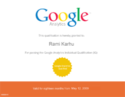 Google Analytics IQ test, Rami Karhu